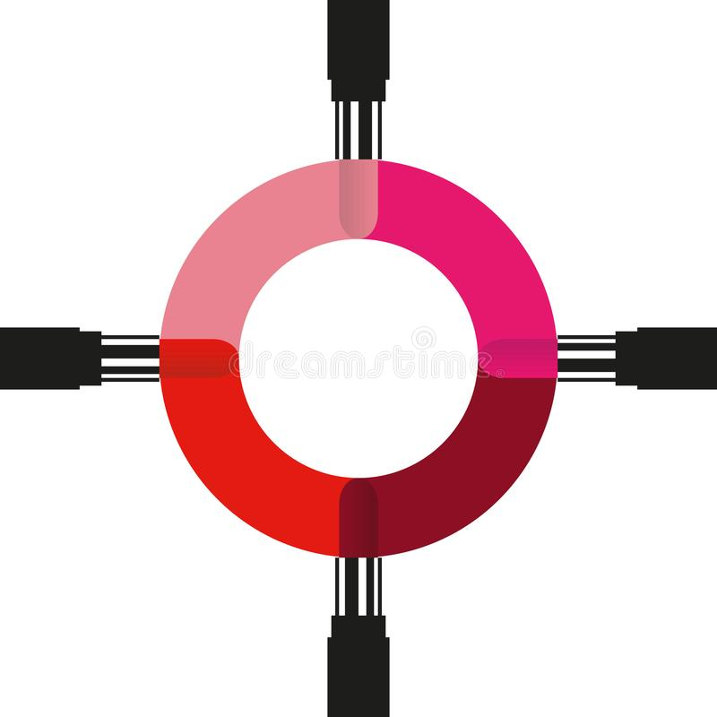 Quatro batons pintam linhas de cor do círculo Escolha da cor do batom ilustração do vetor