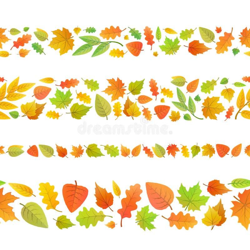 Quatro beiras sem emenda feitas das folhas de outono bonitos no branco ilustração do vetor