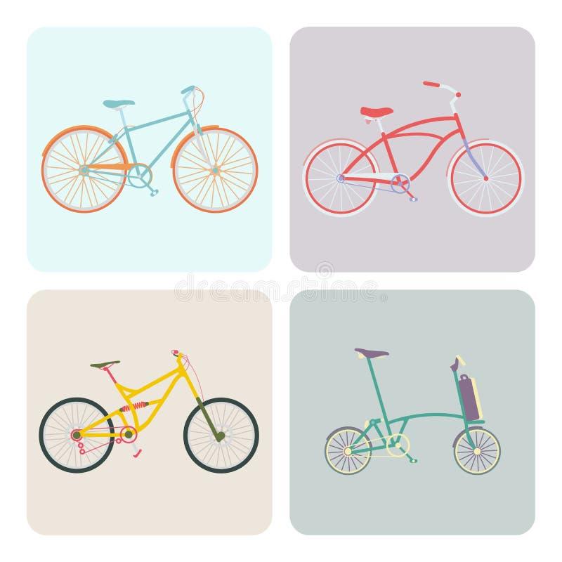 Quatro bicicletas ilustração stock