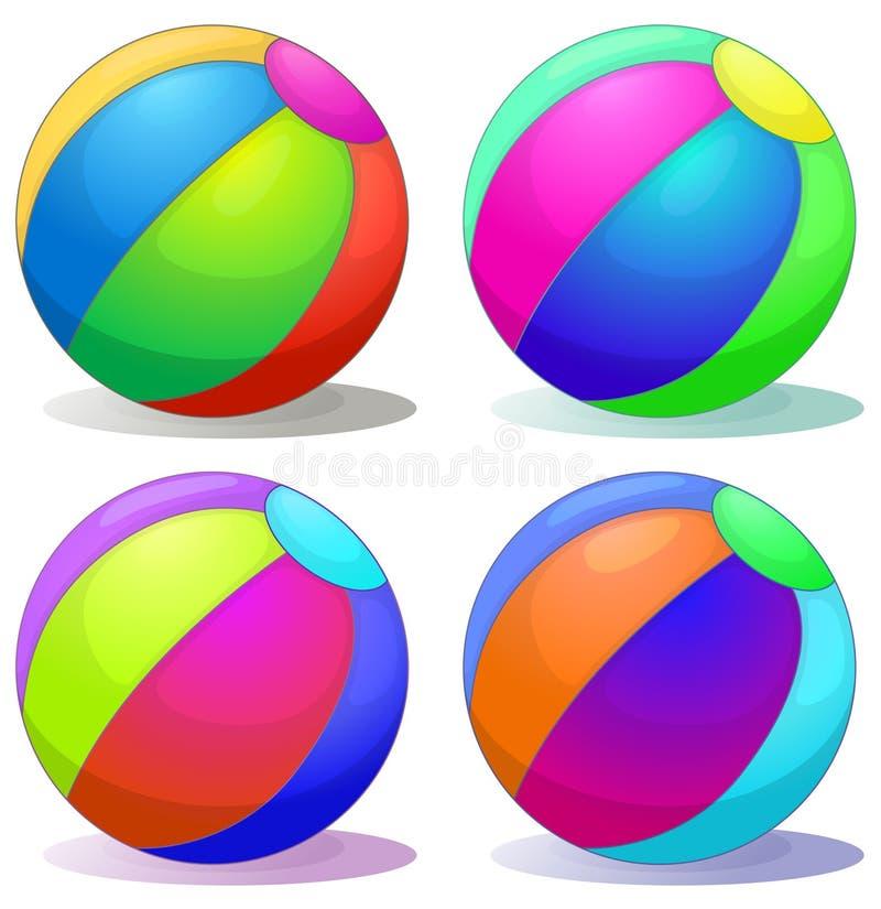 Quatro bolas infláveis coloridas ilustração royalty free
