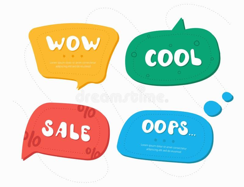 Quatro bolhas do discurso da cor ilustração stock