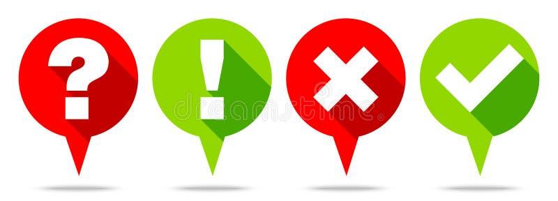 Quatro bolhas redondas do discurso questionam a resposta e o verde vermelho dos sinais ilustração do vetor