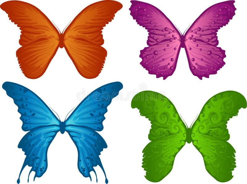 Quatro borboletas coloridas ilustração do vetor