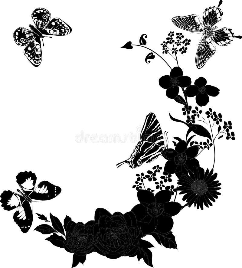 Quatro borboletas e flores pretas ilustração do vetor
