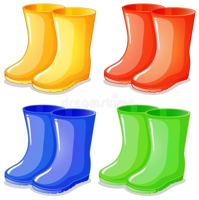 Quatro botas em cores diferentes ilustração stock