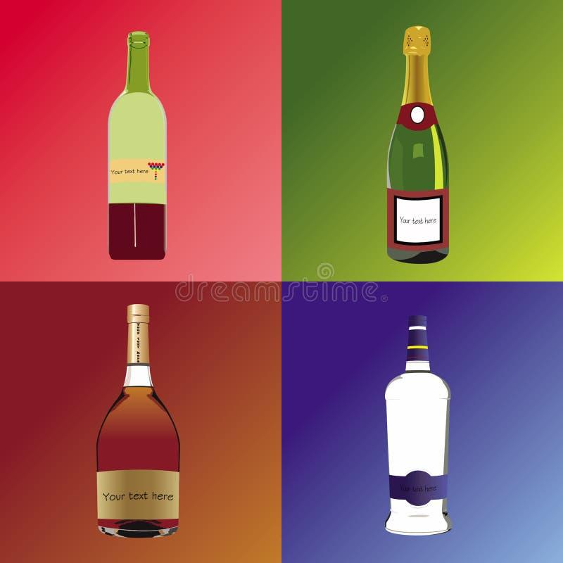Quatro bothles diferentes com bebidas alcoólicas ilustração royalty free