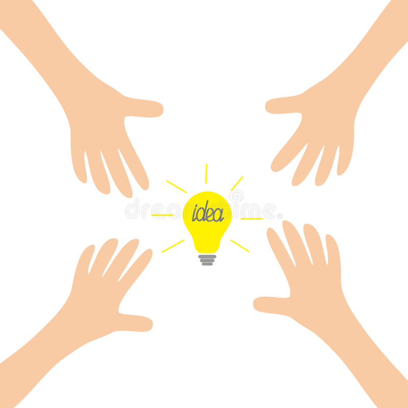 Quatro braços de mãos que alcançam à ampola da ideia assinam o símbolo Tomando a mão Feche acima da parte do corpo Série financei ilustração royalty free
