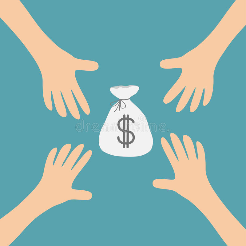 Quatro braços de mãos que alcançam ao dinheiro ensacam o símbolo do sinal de dólar Tomando a mão Feche acima da parte do corpo Sé ilustração stock