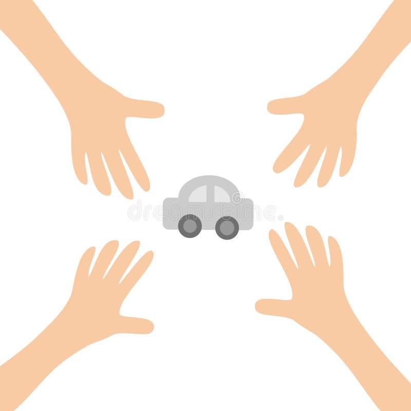 Quatro braços de mãos que alcançam automóvel do carro dos desenhos animados ao auto assinam o símbolo Tomando a mão Feche acima d ilustração royalty free