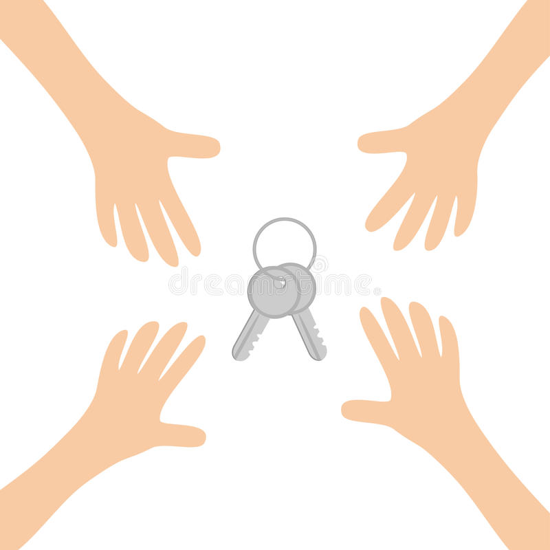 Quatro braços de mãos que alcançam para abrigar símbolo ajustado do sinal da chave Tomando a mão Feche acima da parte do corpo Sé ilustração royalty free