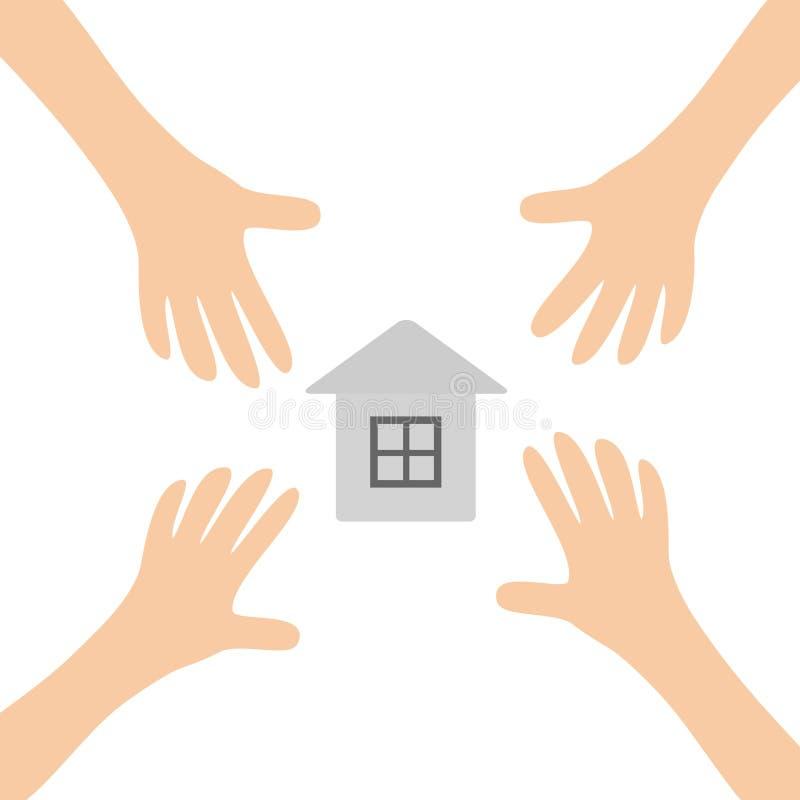 Quatro braços de mãos que alcançam para forrar o símbolo home do sinal da casa Tomando a mão Feche acima da parte do corpo Série  ilustração royalty free