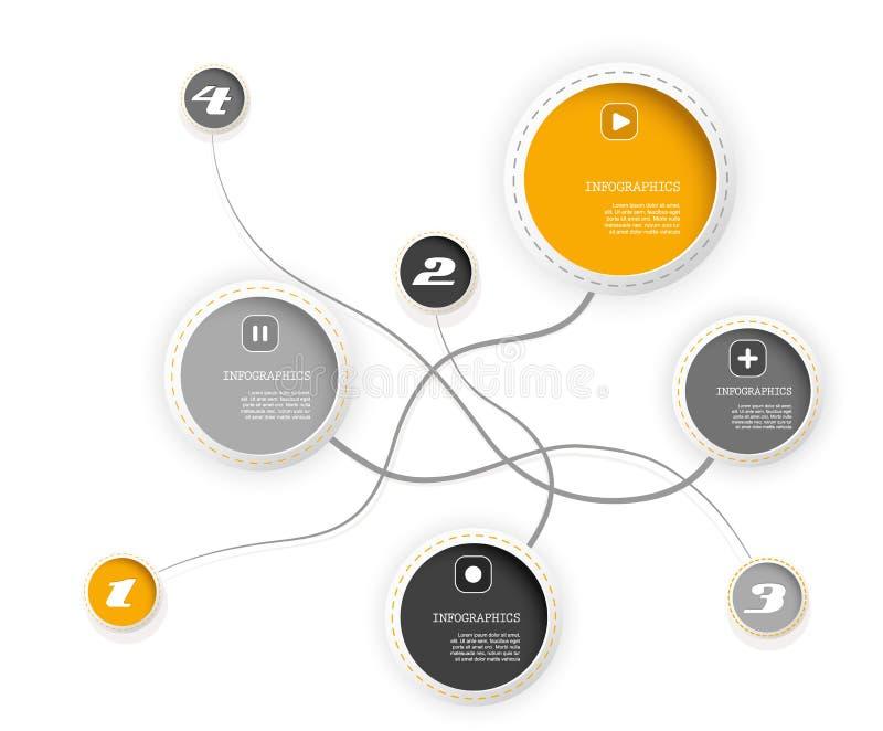 Quatro círculos coloridos com lugar para seu próprio texto. ilustração do vetor