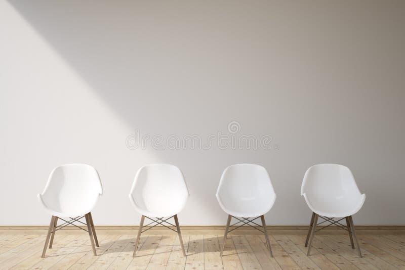 Quatro cadeiras brancas ilustração royalty free