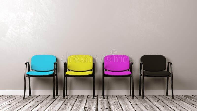 Quatro cadeiras coloridas CMYK no assoalho de madeira ilustração royalty free