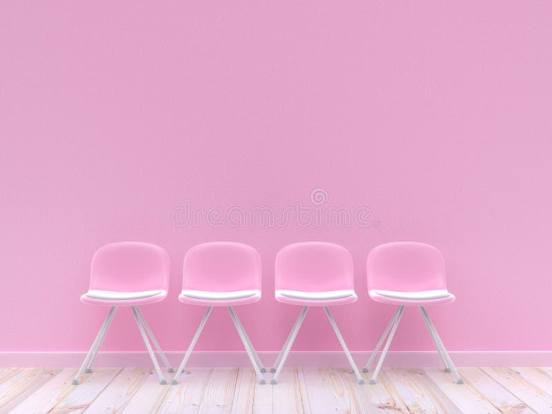 Quatro cadeiras cor-de-rosa no muro de cimento ilustração stock