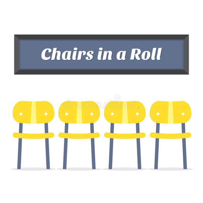 Quatro cadeiras de madeira vazias no fundo branco ilustração stock