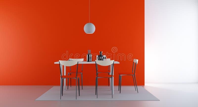 Quatro cadeiras e tabelas para enfrentar uma parede em branco ilustração do vetor
