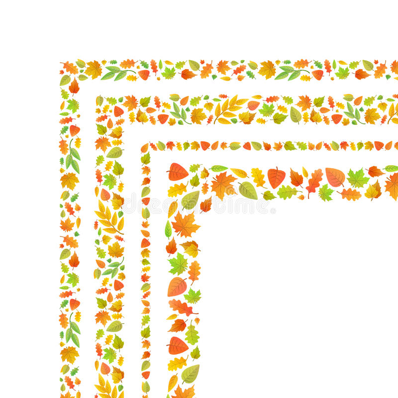 Quatro cantos feitos das folhas de outono bonitos isoladas no branco ilustração do vetor