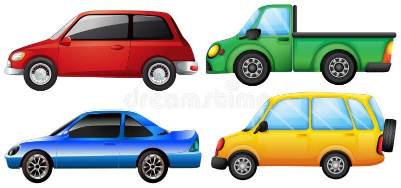 Quatro carros com cores diferentes ilustração do vetor