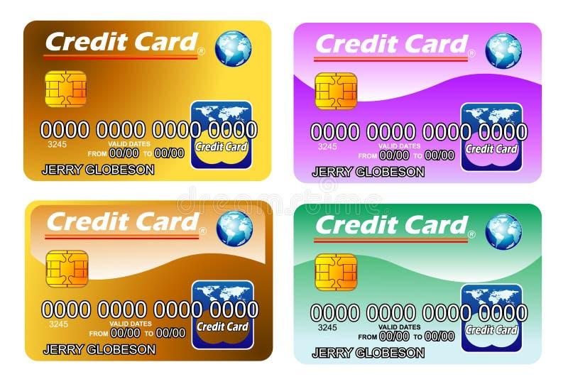 Quatro cartões de crédito com microplaqueta. inteiramente editable ilustração do vetor