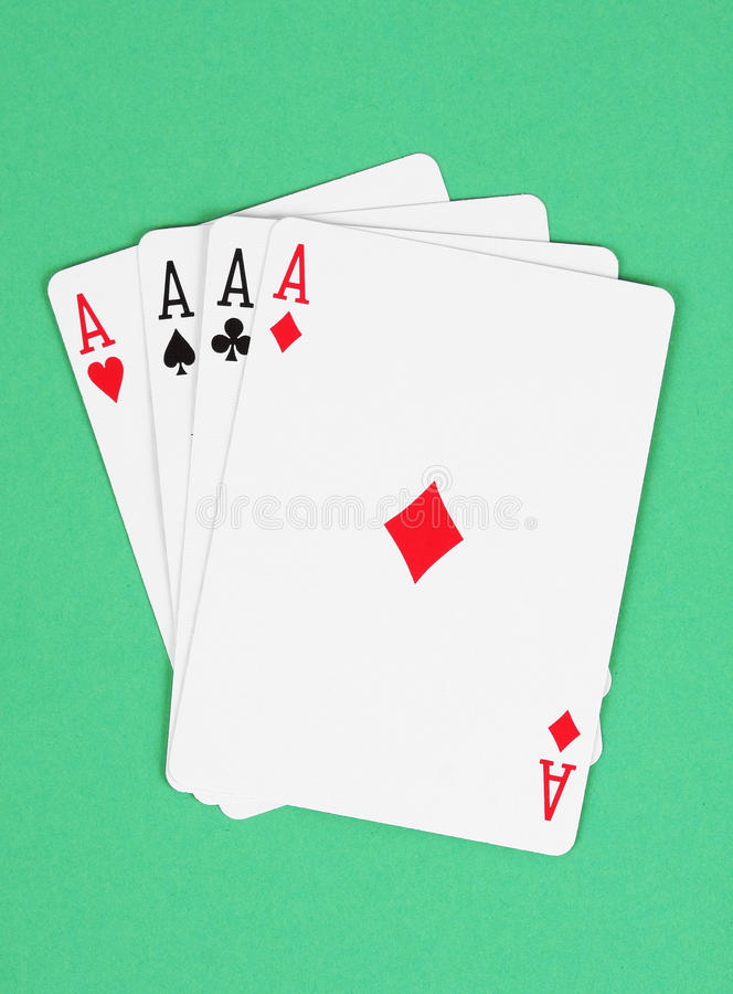 Quatro cartões de jogo dos ás foto de stock royalty free