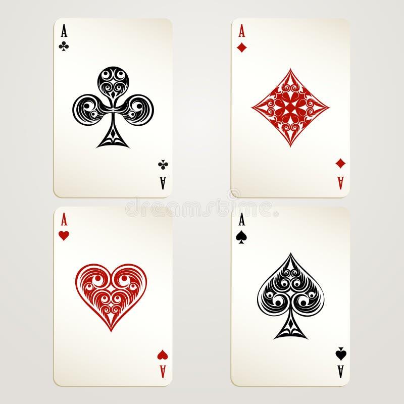 Quatro cartões de jogo dos ás ilustração stock