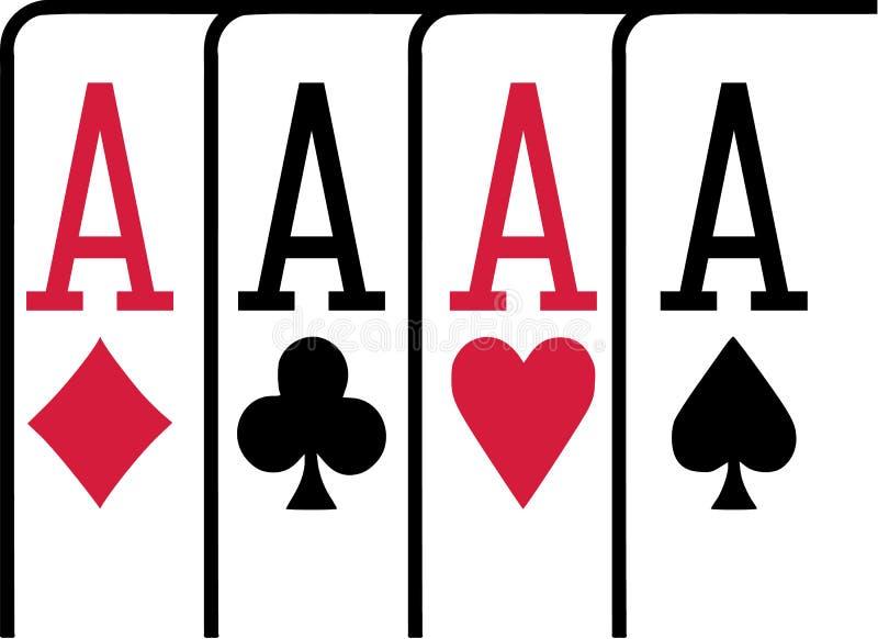 Quatro cartões de jogo dos áss que ganham o pôquer ilustração stock