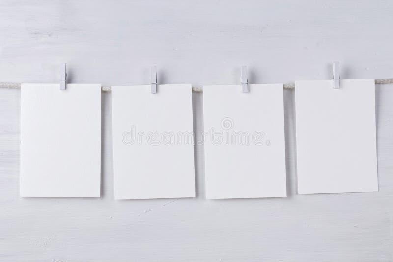 Quatro cartões de papel do wotercolor vazio foto de stock royalty free