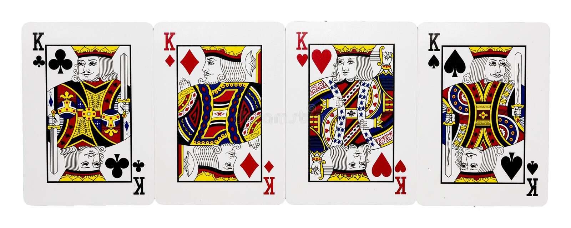 Quatro cartões do rei imagem de stock royalty free