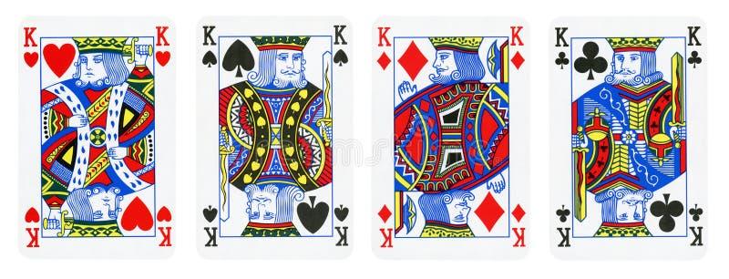 Quatro cartões dos reis jogo - isolados no branco fotografia de stock