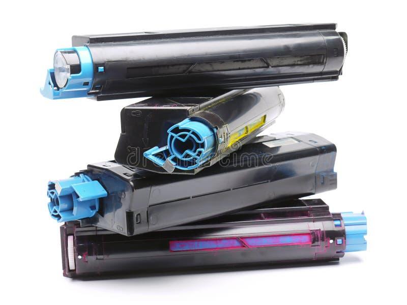 Quatro cartuchos de tonalizador da impressora de laser da cor fotografia de stock royalty free