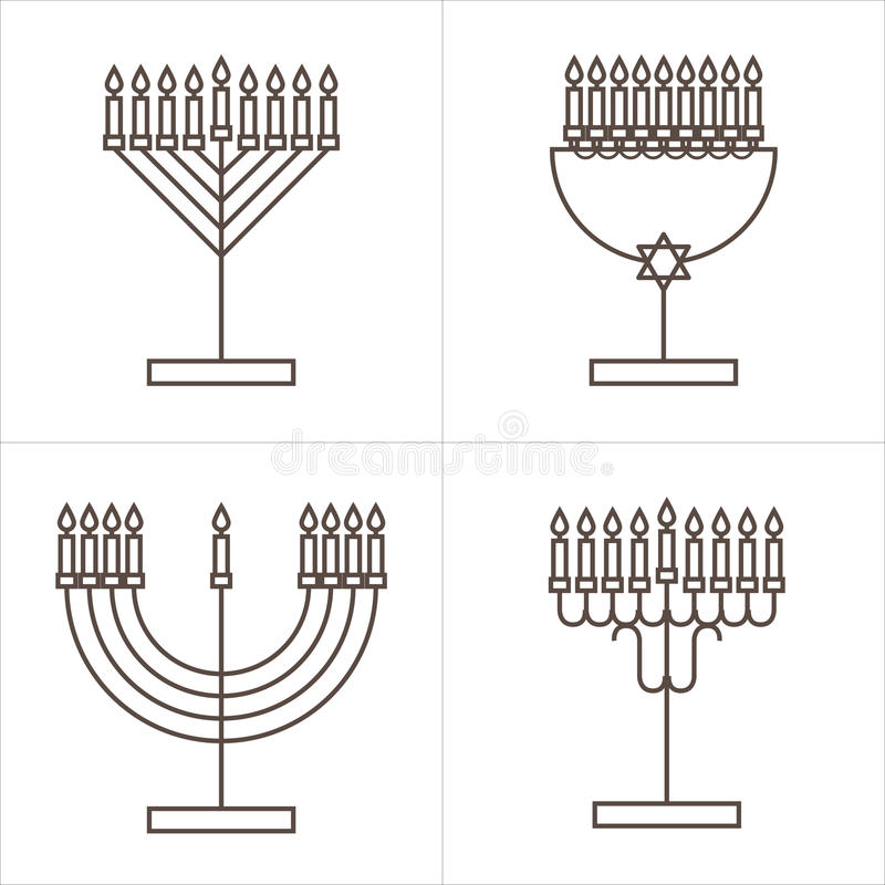 Quatro castiçal com nove velas Castiçal com velas para o Hanukkah ilustração do vetor
