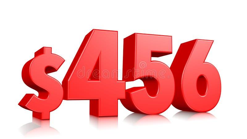 456$ quatro cem e cinquenta e seis símbolos do preço número vermelho 3d do texto para render com sinal de dólar no fundo branco ilustração royalty free