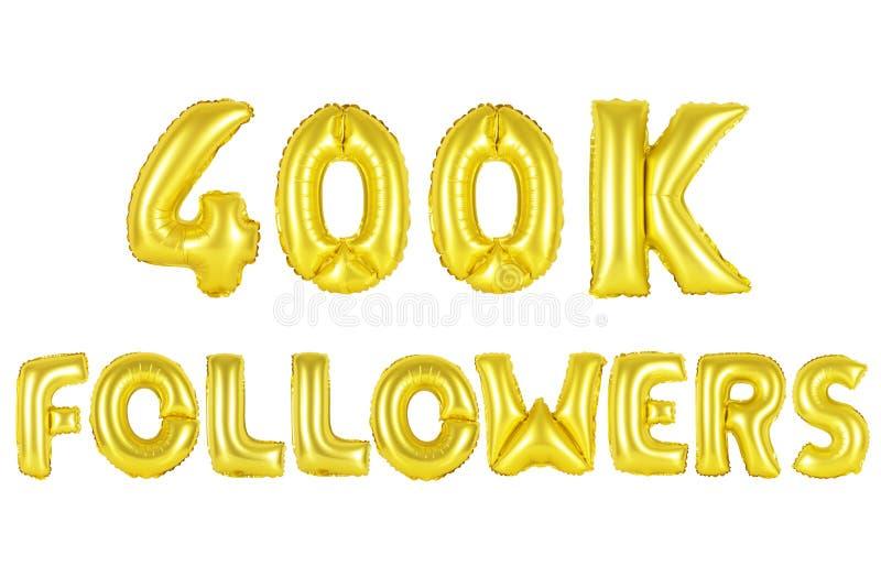 Quatro cem mil seguidores, cor do ouro ilustração do vetor