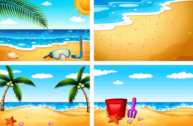 Quatro cenários bonitos da praia ilustração royalty free
