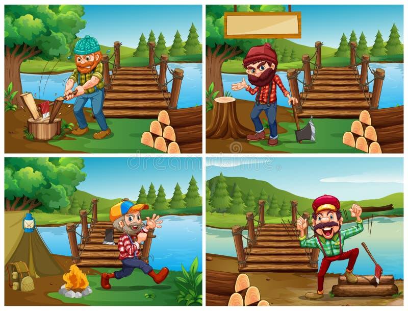 Quatro cenas com lenhador e madeiras ilustração do vetor