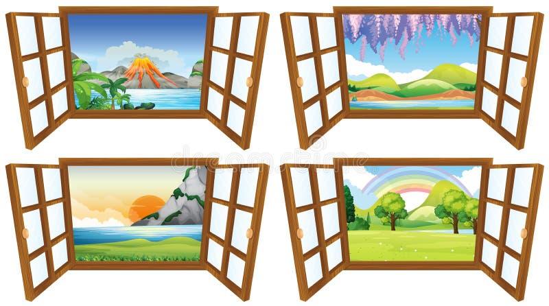 Quatro cenas da natureza através da janela ilustração royalty free