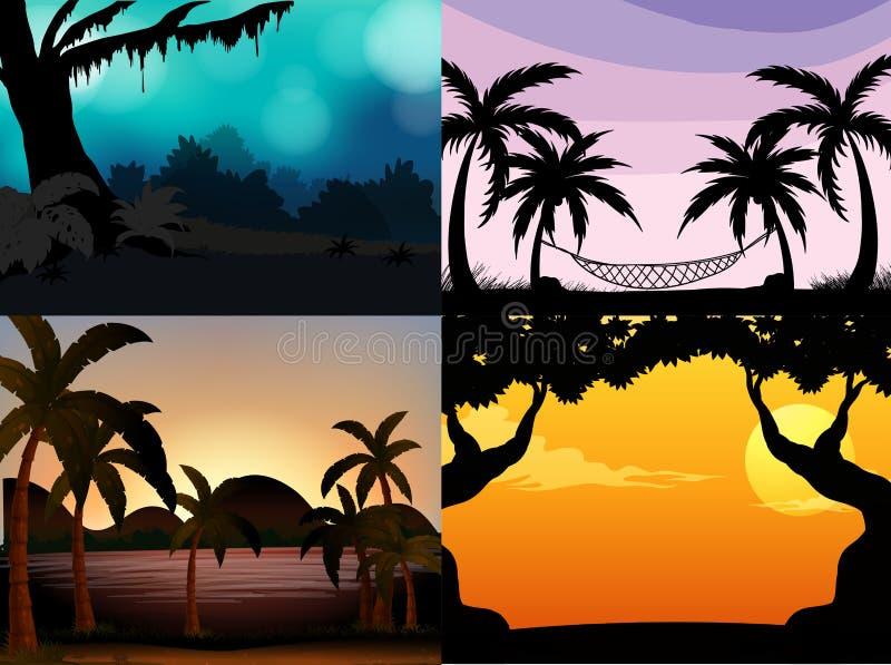 Quatro cenas da natureza com árvores da silhueta ilustração stock