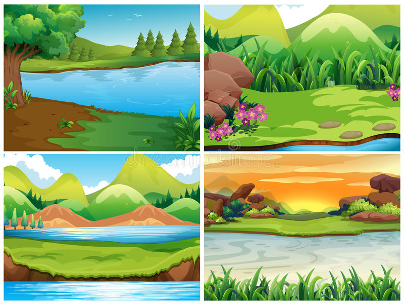 Quatro cenas da natureza com montanhas ilustração do vetor