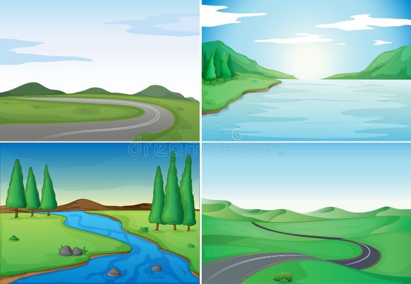 Quatro cenas da natureza com rios e estradas ilustração royalty free