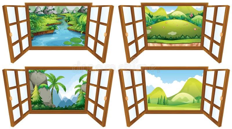 Quatro cenas da natureza da janela ilustração stock