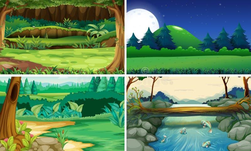 Quatro cenas da natureza dia e noite ilustração stock