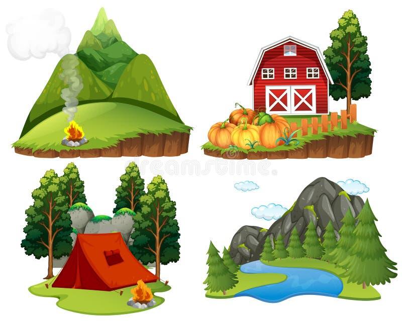 Quatro cenas da natureza no fundo branco ilustração stock