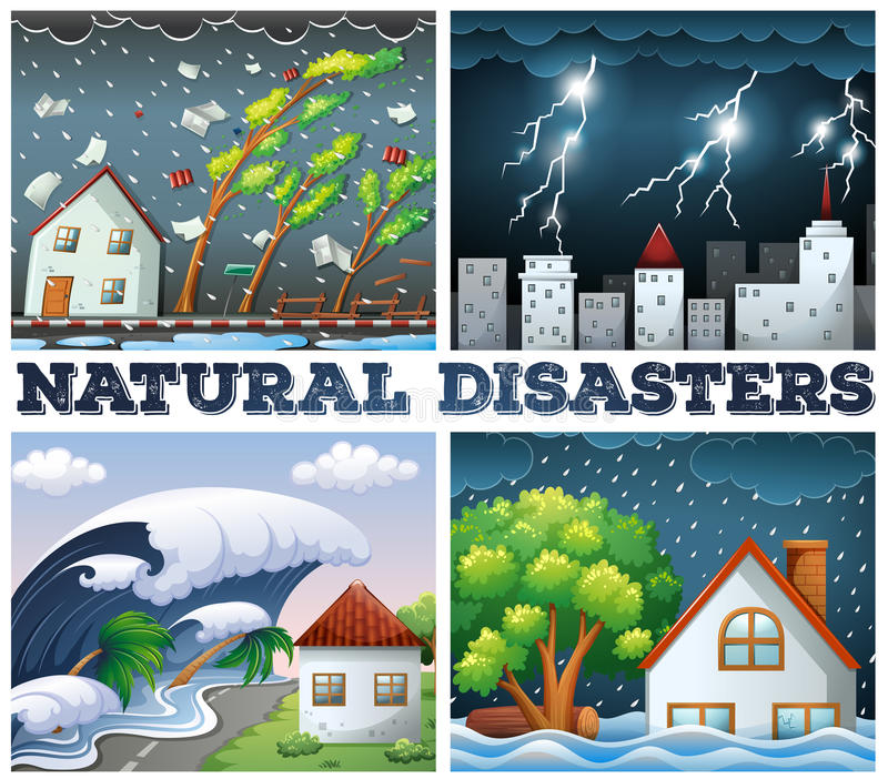 Quatro cenas das catástrofes naturais ilustração stock