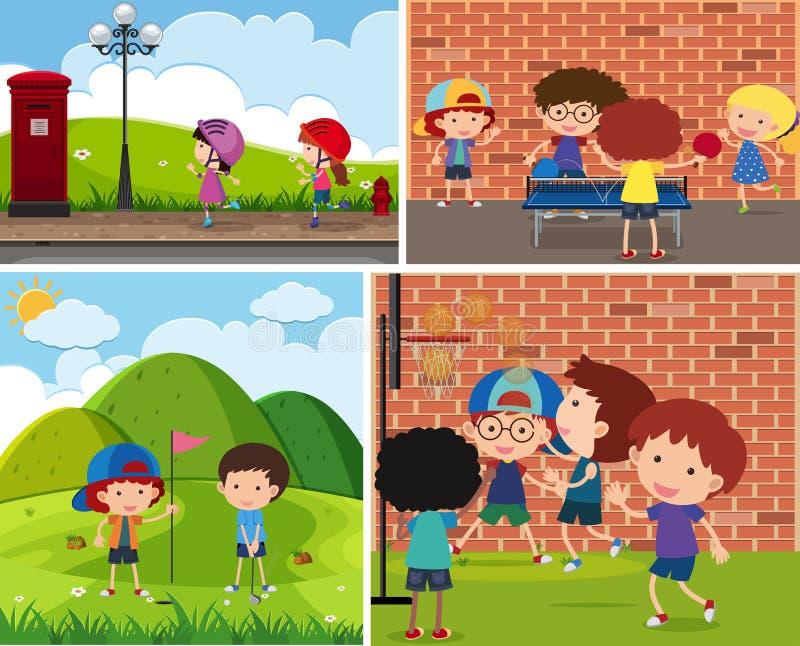 Quatro cenas das crianças que jogam esportes diferentes ilustração royalty free