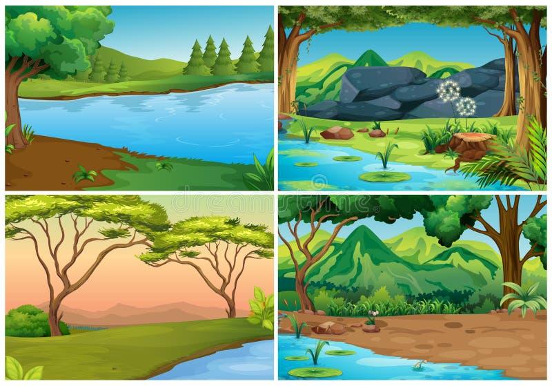 Quatro cenas das florestas ilustração royalty free