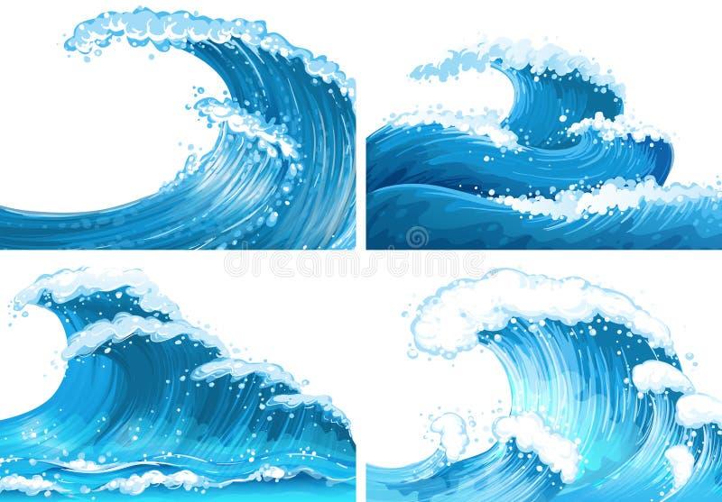 Quatro cenas de ondas de oceano ilustração do vetor