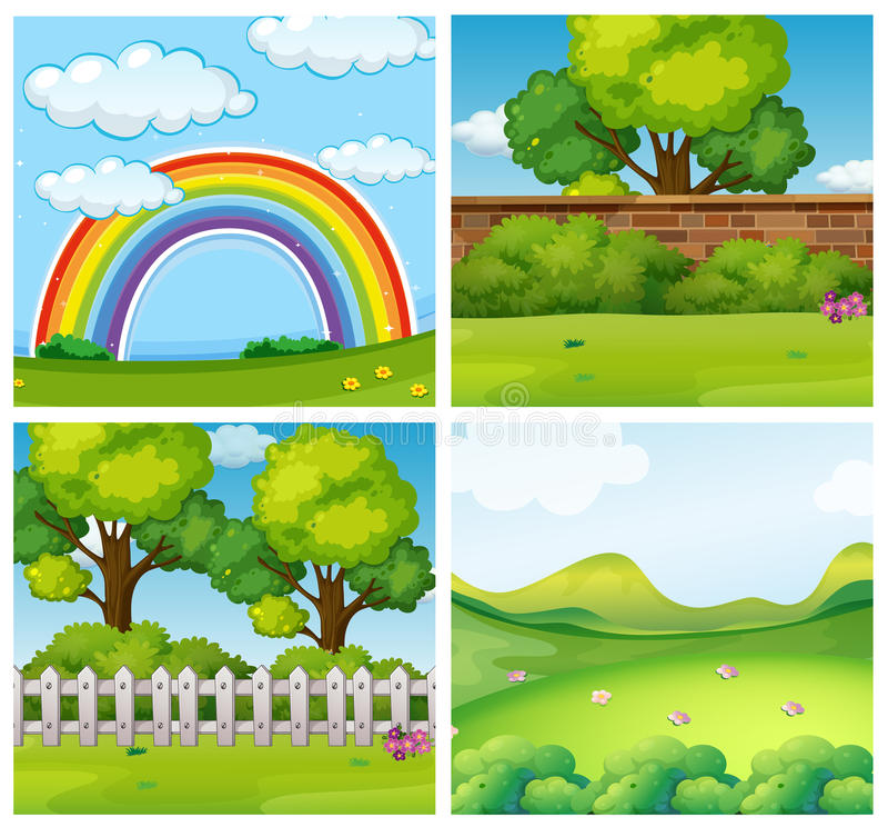Quatro cenas de parques verdes ilustração do vetor