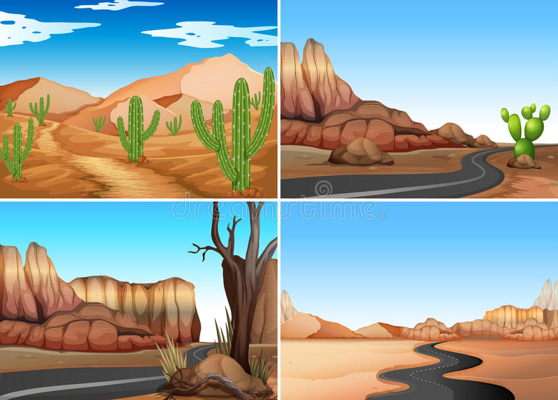 Quatro cenas do deserto com estradas vazias ilustração stock