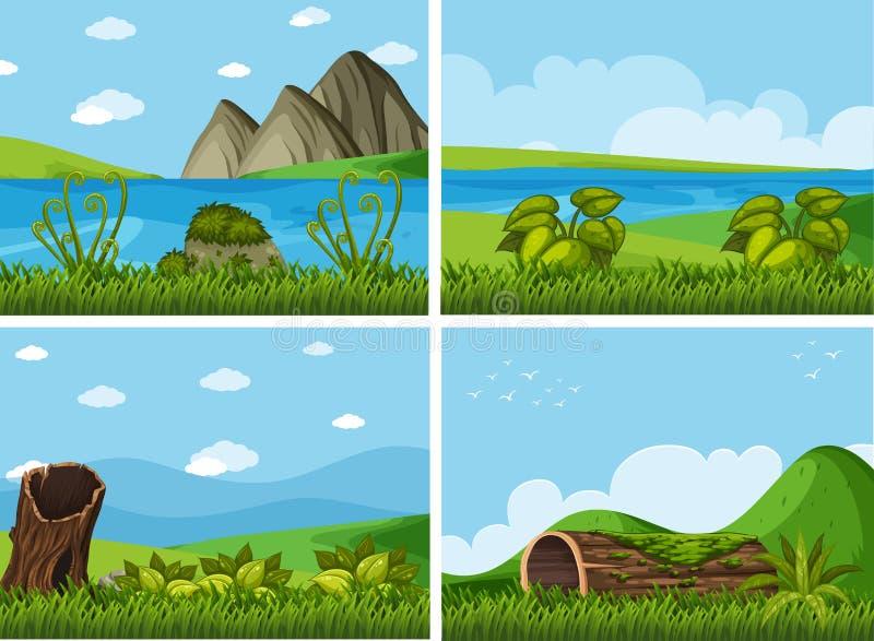 Quatro cenas do fundo com rios e campo ilustração stock